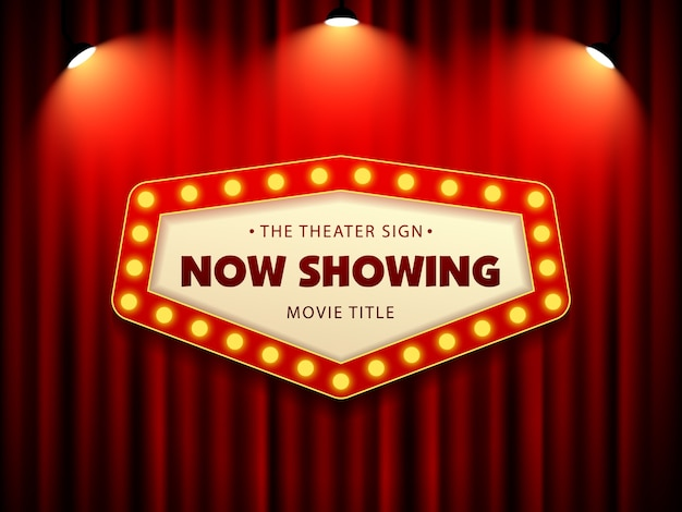 Cinema theatre retro sign on curtain with spotlight Vettore Premium
