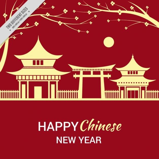 Cinese nuovo anno con sfondo del paesaggio Vettore gratuito