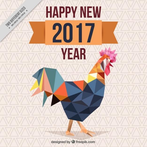 Cinese nuovo anno con sfondo gallo poligonale Vettore gratuito