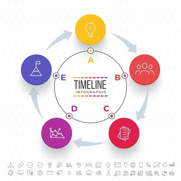 Cinque fasi, layout timeline infographics con icone impostate, in versione in bianco e nero e colorato. Vettore Premium