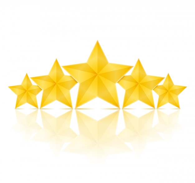 Cinque stelle dorate con la riflessione su priorità bassa bianca, illustrazione di vettore eps10 Vettore Premium