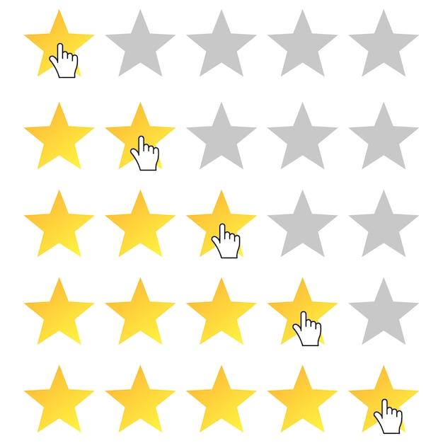 Cinque stelle. icona del cursore. imposta la valutazione da una a cinque stelle. Vettore Premium