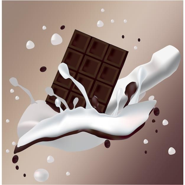 Cioccolato con latte di schiacciamento al latte Vettore gratuito