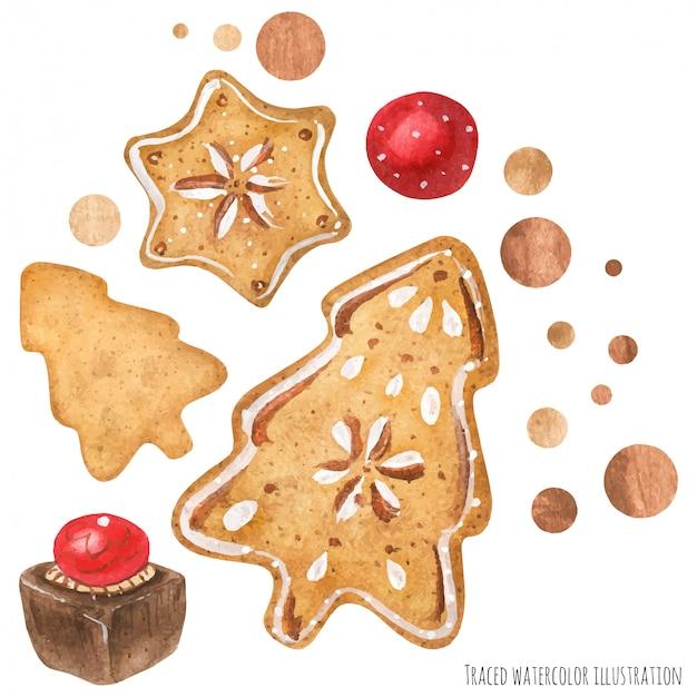 Cioccolato e biscotti art Vettore Premium