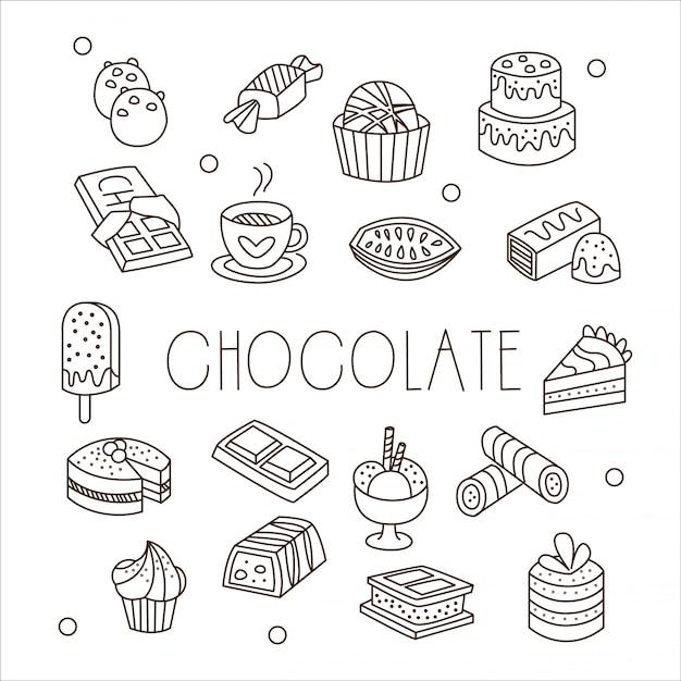 Cioccolato e dolci in stile disegnato a mano Vettore Premium