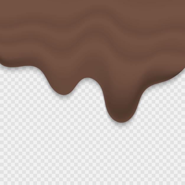 Cioccolato fuso gocciolante su sfondo trasparente Vettore Premium