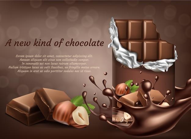 Cioccolato realistico 3d con il manifesto dell'annuncio della nocciola, insegna con le gocce di spruzzatura liquide. Vettore gratuito
