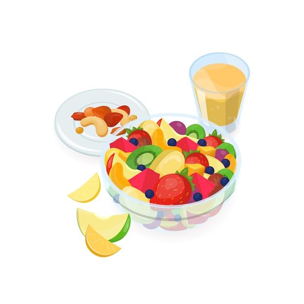 Ciotola di insalata fatta di frutta esotica fresca, bicchiere di succo d'arancia e noci che si trovano sul piatto isolato. gustoso pasto fatto in casa, cibo salutare per la colazione. illustrazione vettoriale colorato. Vettore Premium