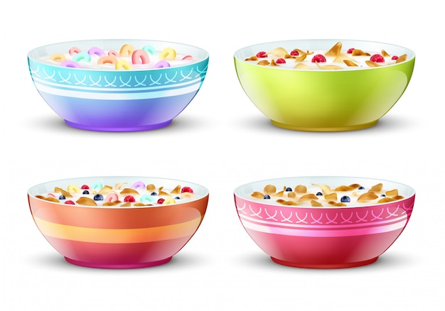Ciotole di colazione con diversi spuntini di cereali al latte. impostato Vettore Premium
