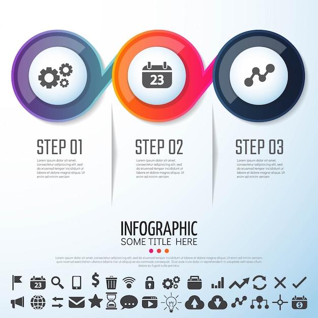 Circle infographics template design Vettore gratuito