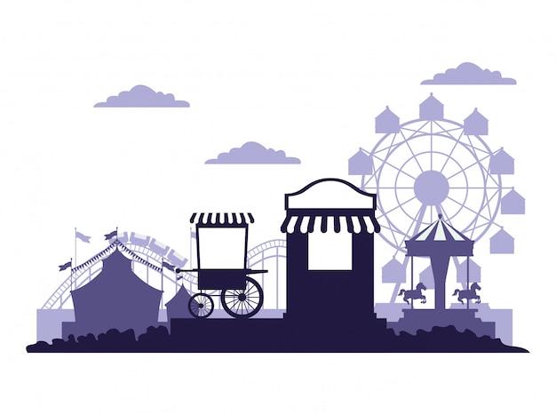 Circo festival fair paesaggi blu e bianco Vettore gratuito