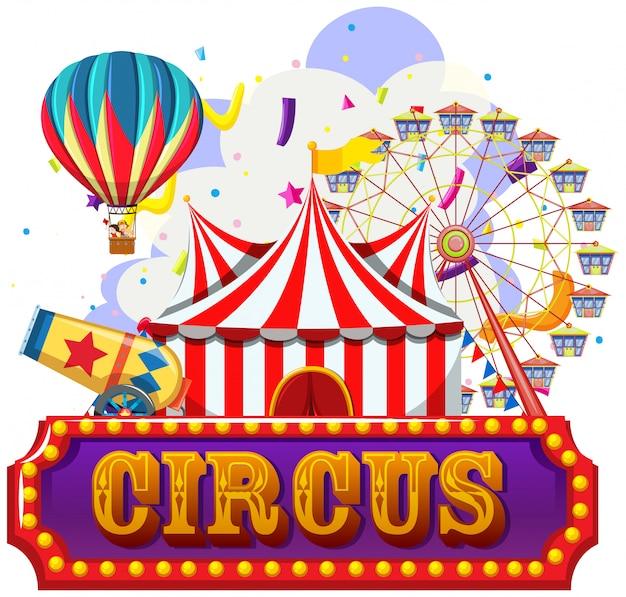 Circo, luna park, modello a tema parco divertimenti Vettore gratuito