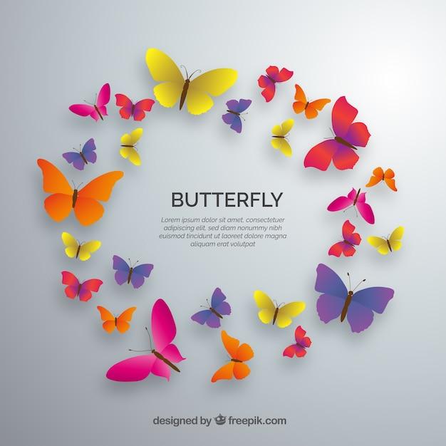 Circolo di farfalle colorate Vettore gratuito