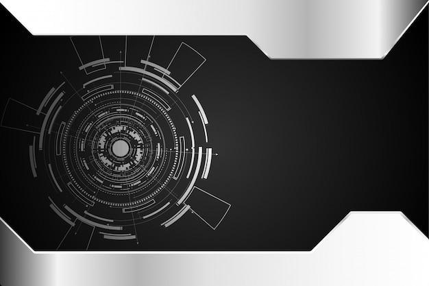 Circuito di concetto astratto tecnologia cerchio Vettore Premium