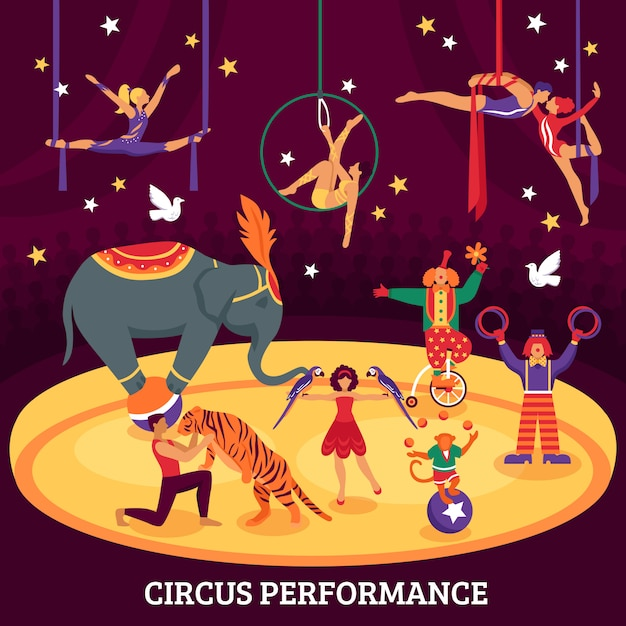 Circus performance flat composition Vettore gratuito