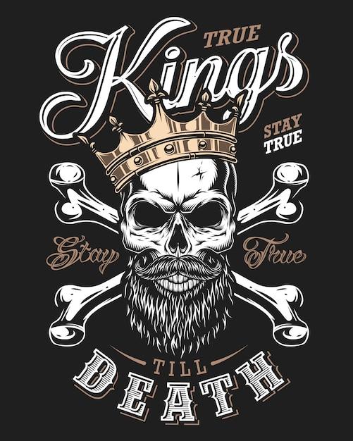 Cita la tipografia con il re teschio bianco e nero in corona dorata con barba Vettore Premium