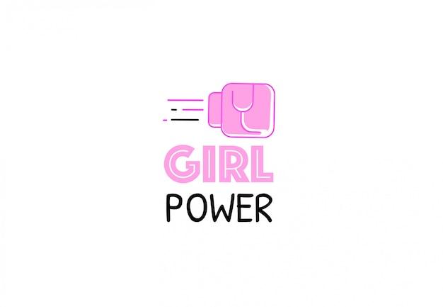 Citazione del potere della ragazza. pugno femminile in guanto da combattimento rosa. logo di ispirazione per i diritti delle donne. slogan femminista. vector piatta illustrazione. Vettore Premium