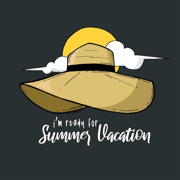 Citazione di cappelli di lettering mano tipografia vacanze estive Vettore Premium