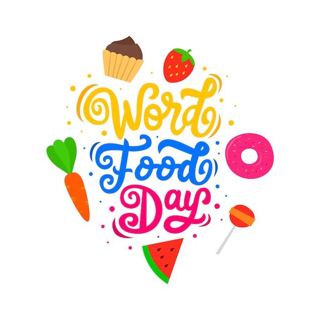 Citazione di cibo motivazionale e ispiratore lettering parola giorno cibo Vettore Premium