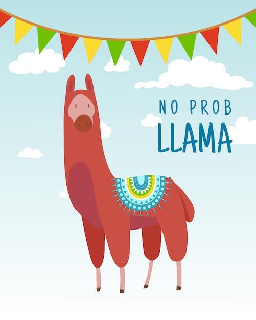 Citazione di lettering alpaca doodle divertente del fumetto senza lama. animale divertente della fauna selvatica, lama cita l'illustrazione di concetto di vettore. Vettore Premium