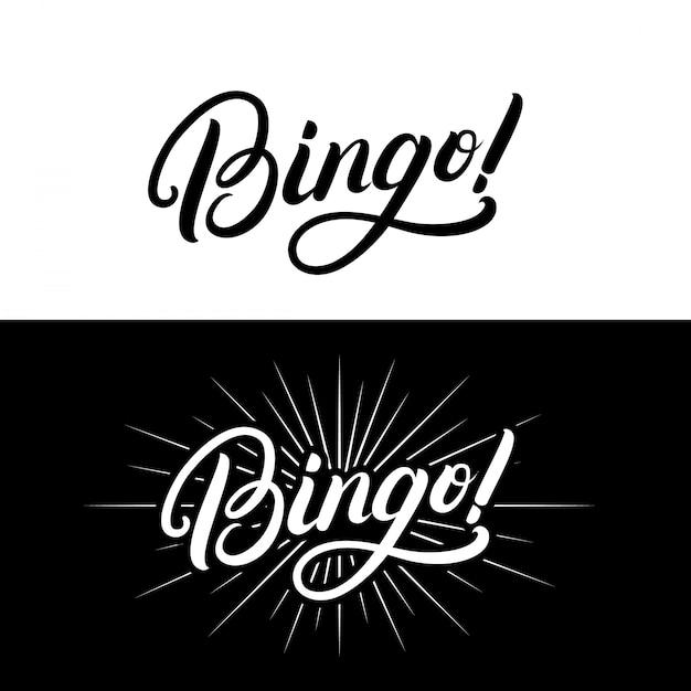 Citazione scritta scritta a mano di bingo. Vettore Premium