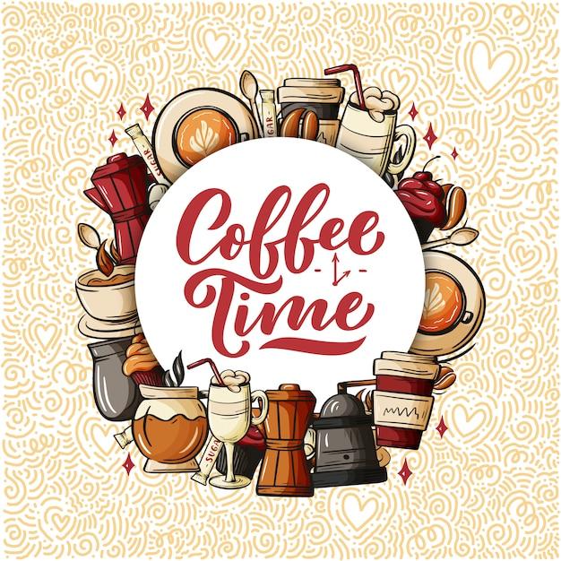 Citazione tipografia tazza di caffè. citazione in stile calligrafia. Vettore Premium