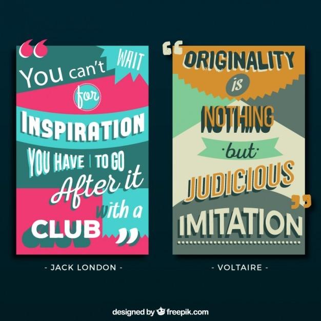 Citazioni creativi su ispirazione e originalità Vettore gratuito