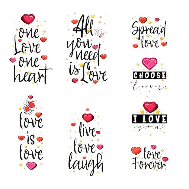Citazioni d'amore Vettore Premium