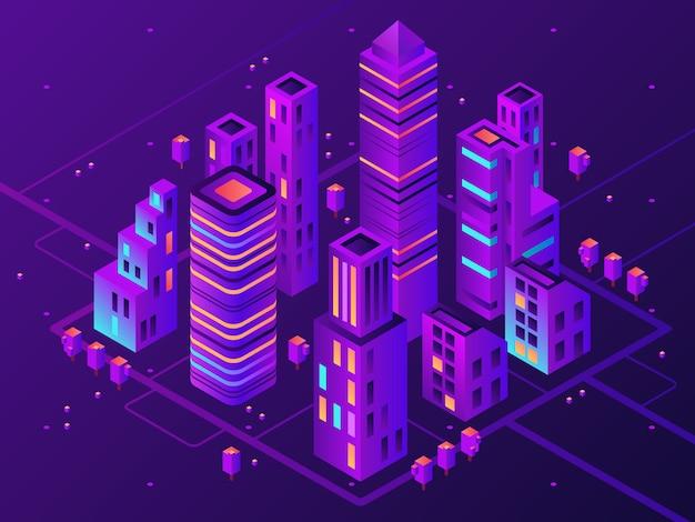 Città al neon isometrica. città illuminata futuristica, illuminazione futura della strada principale di megapolis e illustrazione di vettore del distretto aziendale 3d Vettore Premium