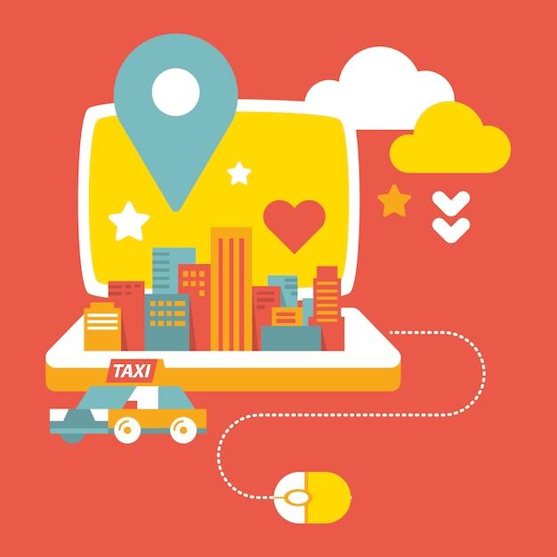 Città, computer portatile e taxi Vettore Premium