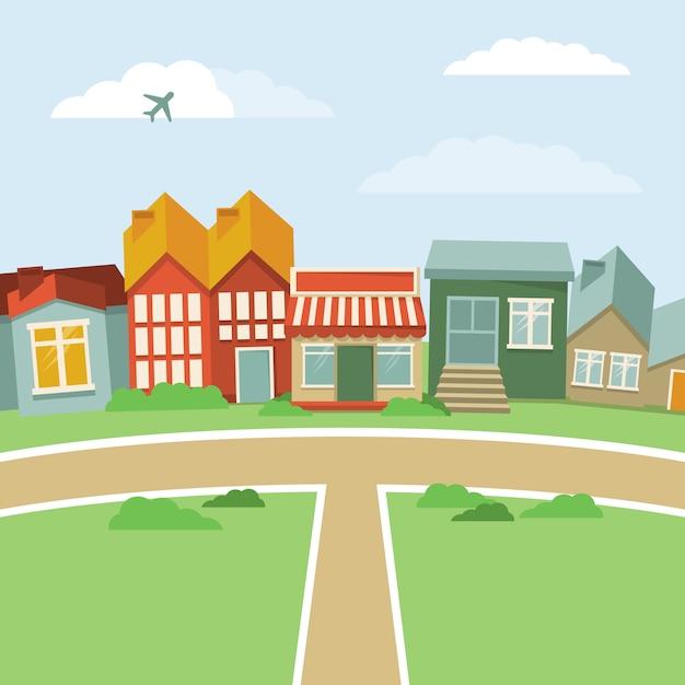 Città del fumetto di vettore - paesaggio astratto con le case nel retro stile Vettore Premium