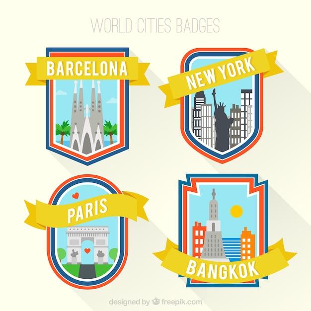 Città del mondo distintivi Vettore gratuito