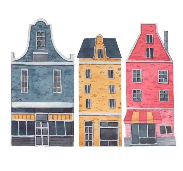 Città di amsterdam, case decorative su uno sfondo bianco Vettore Premium