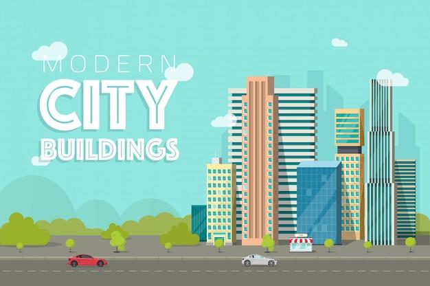 Città di edifici o città di grattacieli del fumetto piatto Vettore Premium