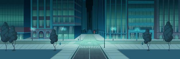Città di notte di incrocio, banner di intersezione trasporto vuoto Vettore gratuito