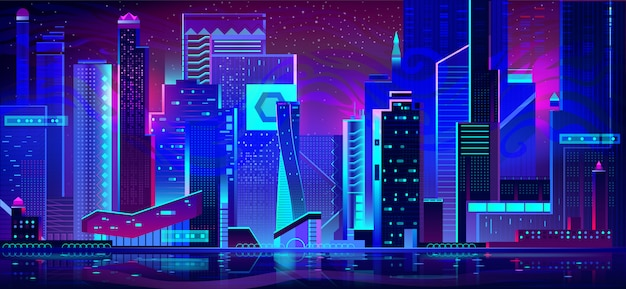 Città di notte in luci al neon. architettura futuristica Vettore gratuito