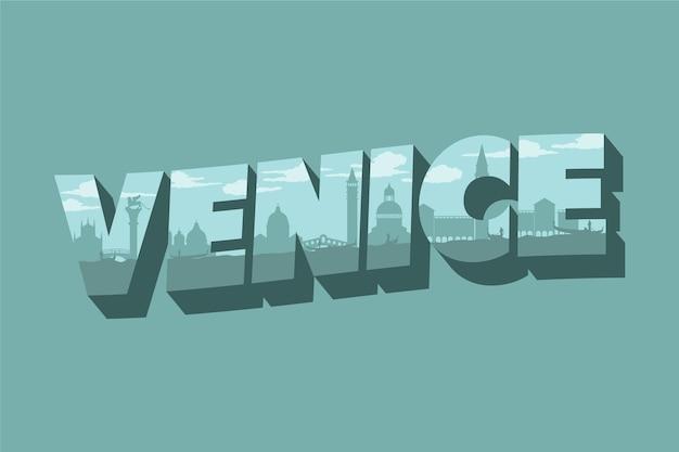 Città di venezia scritte Vettore gratuito