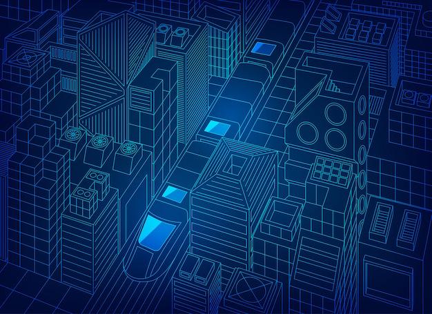 Città digitale Vettore Premium