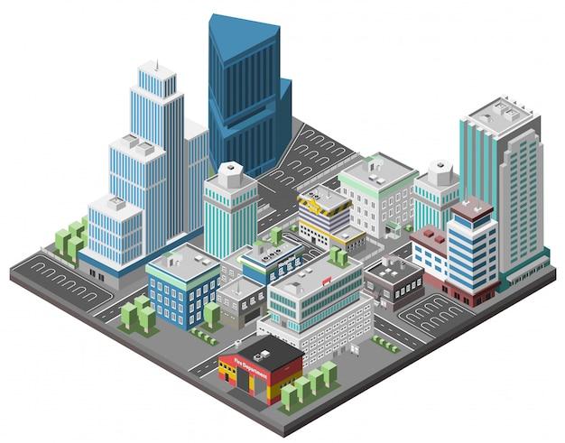 Città downtown concept Vettore gratuito