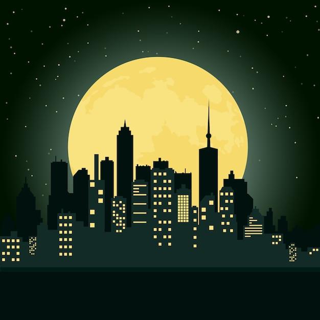Città durante la notte Vettore gratuito