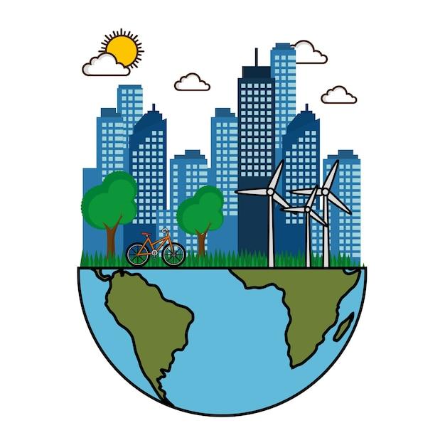 Città eco friendly con turbine a vento bici e metà del pianeta terra design illustrazione vettoriale Vettore Premium