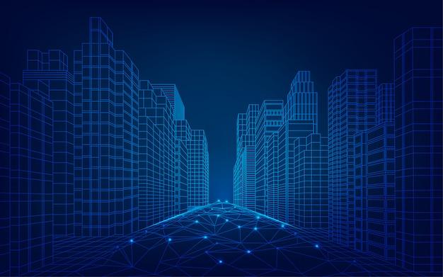 Città futuristica Vettore Premium