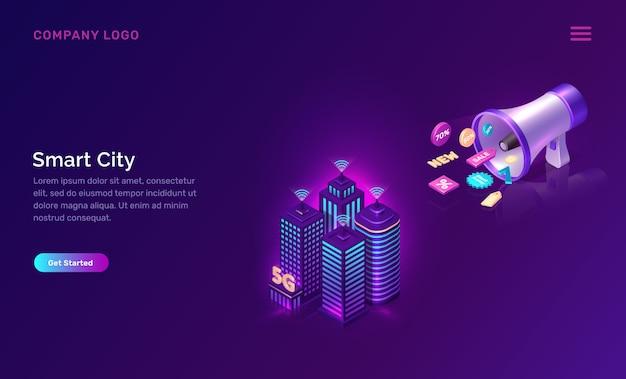 Città intelligente, modello web tecnologia di rete wireless Vettore gratuito