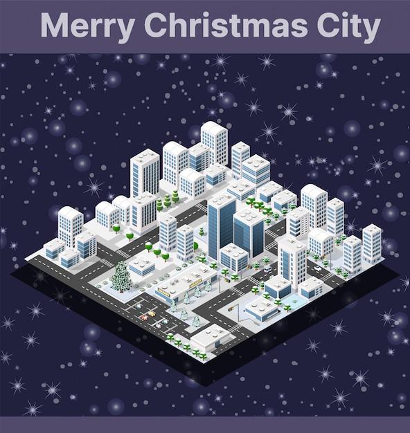 Città invernale isometrica Vettore Premium