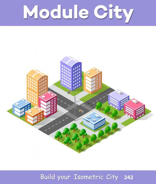 Città isometrica 3d colorato Vettore Premium