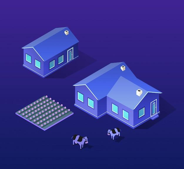 Città isometrica di viola Vettore Premium