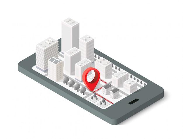 Città isometrica mappa 3d Vettore Premium