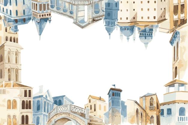 Città mediterranea costruzione stile esterno colore dell'acqua Vettore gratuito