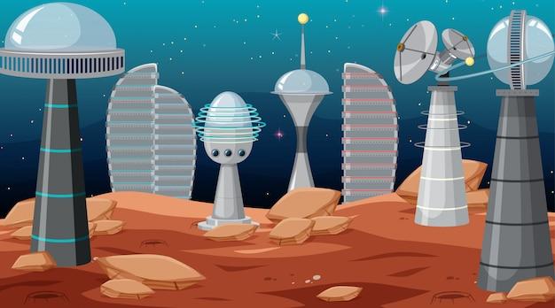 Città nella scena spaziale Vettore gratuito