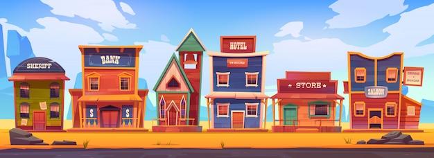 Città occidentale con vecchi edifici in legno Vettore gratuito